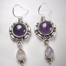 Moonstone Amethyst Round and Teardrop 2-Gem 925 Sterling Silver Dangle Earrings