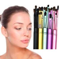5Pcs Pro Makeup Eyeliner Eyeshadow Eyebrow Blush Brushes Cosmetic Set+Round Tube