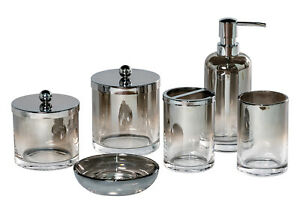 Bathroom Accessory Set Glass Soap Dish Tumbler Storage Jars Dispenser, Ombre