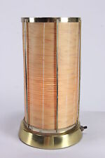Mid Century Modern Electric Desk TV Lamp With Round Cylinder Birch Wood Shade