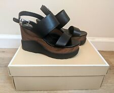 Michael Michael Kors Women's Rhett Black Leather Wedge Sandal Size 6 NWB