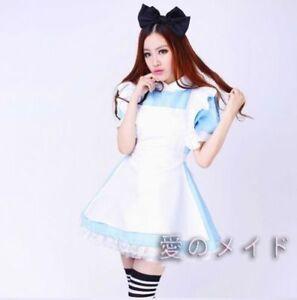 Alice in Wonderland Costume Waitress Uniform Maid Blue Dress Halloween Cosplay M