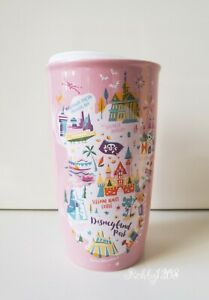 Disney Disneyland Resort Starbucks Pink Ceramic 12oz Tumbler Mug To Go Cup