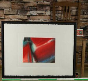 unleserlich signiert The Turn Gemälde Aquarell rot abstrakt aus Bankensammlung