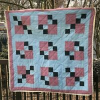 "Vintage Quilt Coverlet wall hanging pink mauve blue 48"" square reversible"