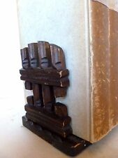 Black Forest Rustic Fence Slide Bookends Adirondack Style Extending Book C.1900