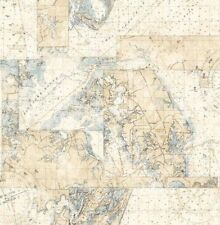 Wallpaper Designer Nautical Seven Seas Map Maps Light Blue on Light Beige