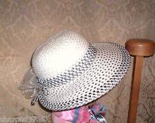 LADIES WHITE AND BLACK CRUSHABLE SUNBONNET HAT  57CM