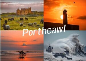 Porthcawl Postcard Sker House, Sunset Lighthouse, Surfers And Stormy Pier