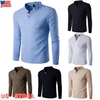 Fashion Men's Casual Polo Shirt Men Slim Fit V-neck Long Sleeve Tops Tee T-shirt