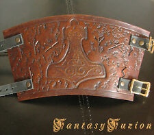 Medieval Knight Armor Runes Celtic Thor Hammer Design Leather SINGLE Cuff Bracer