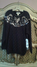 Victoria Harbour Black Sweater with silver sequin SZ L
