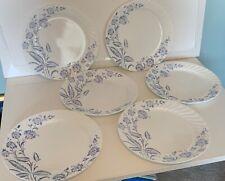 "6 Corelle Botanique Dinner Plates 10 1/4"" Swirled Rim Blue Floral Flower"