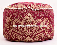 "22"" Large Ombre Mandala Indian Pouf Cover Cotton Gold Color Seating Ottoman Pouf"