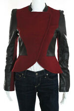 Karolina Zmarlak Red Black Wool Leather Zipper Jacket Size Extra Small New