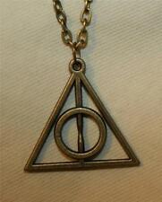 Handsome Openwork Trinity Triangle Circle Unity Brasstone Pendant Necklace