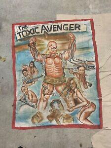 Toxic Avenger Ghana Movie poster oil on floursack 45 x 36 in by mr brew