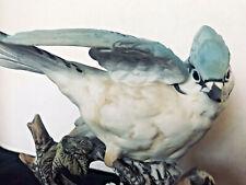 Materpiece Porcelain 6� Blue Jay 1985 Vintage Homco Signed By Artist