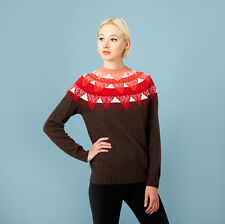 Donna Wilson mountain peak jumper sweater fair isle brown red lambswool NWT RARE