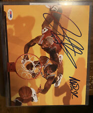 "Framed Dennis Rodman Chicago Bulls Signed 8"" x 10"" vs Magic Johnson Photo PSADNA"