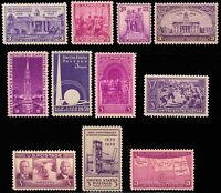 1938-39 Year Set of 11 Commemorative Stamps Mint NH - Stuart Katz