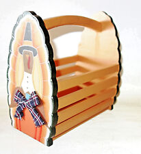 whimsical Thanksgiving turkey wooden napkin holder wood gift basket