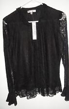 NEW WITH TAGS CLAUDIA RICHARD BLACK LONG SLEEVE SHEER BLOUSE SMALL*
