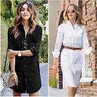2017 Women Long Sleeve Button Down V Neck Mini Dress Long Tops T-Shirt Blouse