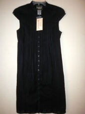 NWT Guess Jeans Womens S/P Shirt Dresses Black Pleated Cap Sleeve Button Cotton