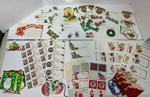 Vtg Lot Xmas Gift Tags Seals To From Sticker Stamp Holiday Various Present