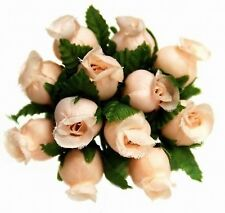 144 Miniature Poly Rose Silk Favor Flower Pick Wedding Shower - Peach