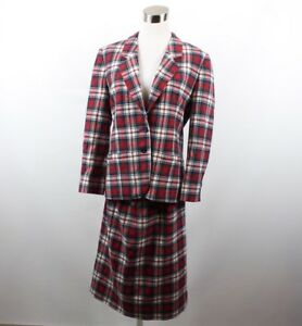 Vintage 60s Pendleton Dress Macduff Tartan Plaid Wool Career Blazer Skirt Suit