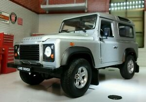 Land Rover Defender TD5/TDCI 90 Welly 1:24 Scale Diecast Detailed Silver Model