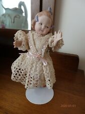 Antique Reproduction Gerbruder Huebach porcelain doll Elspeth 10490 3 19cm tall
