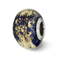 Dark Blue Gold Foil Ceramic Bead .925 Sterling Silver Reflection Beads