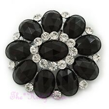 BIG Vittoriano Stile Vintage Nero Pietra Ovale floreale spilla w / cristalli Swarovski