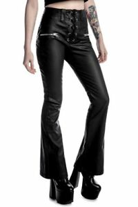 KILLSTAR - Hell-O Bootcut Black Leather Flared High Waist Trousers Lace Up Small