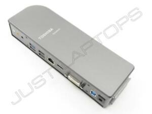 Toshiba DynaDock U3.0 USB 3 Docking Station Port Replicator Grey PA3927E-2PRP LW
