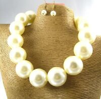 Chunky Gorgeous Pearl Beads Necklace Earring Set Costume Fashion Jewelry