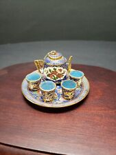 Chinese Miniature Cloisonné Enamel Tea Set: Teapot,4 Cups,Tray Birds & Flowers