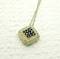 .925 Sterling Silver Clear CZ Sapphire Square Pave Pendant Necklace Vintage