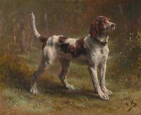 """Limier Briquet Hound Pet Dog Painting Large 12.5"""" x 15.2"""" Real Canvas Art Print"""