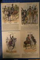 4 Chromolithographien Knötel Preussen Farbtafel Sammlung F.Gauker B25919