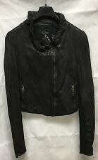 Muubaa Linskey Dark Brown Scuff Effect Leather Jacket. RRP £325. M0099. UK10.