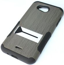 Kyocera Hydro Wave / Air -HARD&SOFT RUBBER HYBRID ARMOR CASE GRAY WOOD KICKSTAND