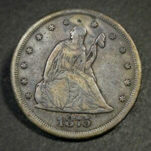 1875 CC Twenty Cent Piece Fine