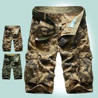 Men's Camouflage Cargo Shorts Pants Cotton Pockets Casual Short Pants Outdoor