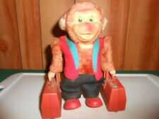 1960's Japan Ahi Battery Operated Traveling Monkey Yano Man Toys With Suitcases