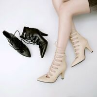 Womens Gladiator Pointed Toe Lace Up Hollow Ankle Boots Solid High Heels Shoes