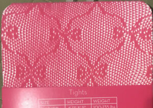 NEW Xhilaration Size Sm/Med Hot Pink Lace Bow Ribbon Fishnet Tights NWT 14 Avail